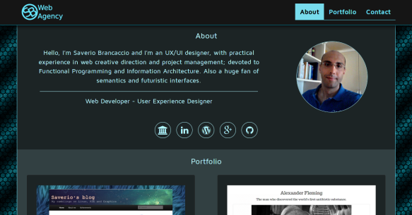 Saverio's portfolio site on codepen.io